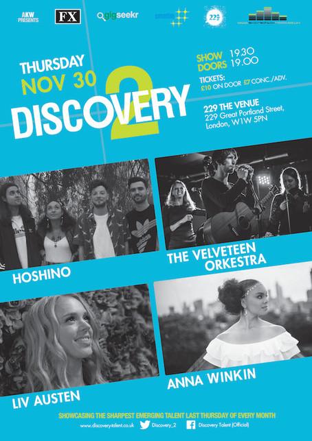 Thur 30th Nov 2017: Hoshino, The Velveteen Orkestra, Liv Austen, Anna Winkin
