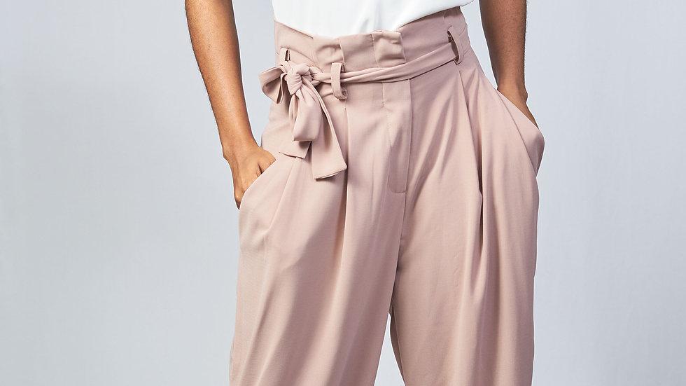 Pantalon ceinturé avec nœud