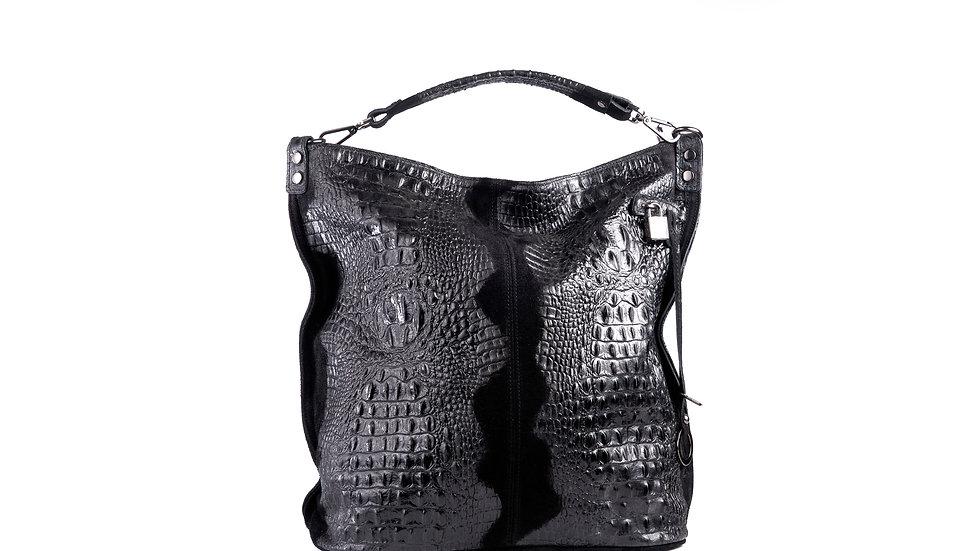 Grand sac femme en cuir noir avec Fermoir Abidjan