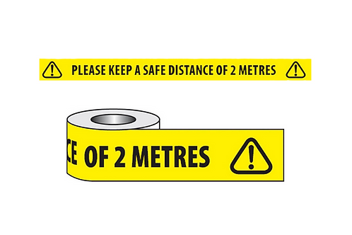 Floor Marking Tape - 'Please Keep A Safe Distance of 2 Metres' - 50mm x 33m