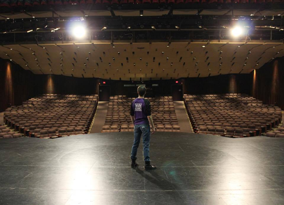 On stage at Nazareth College