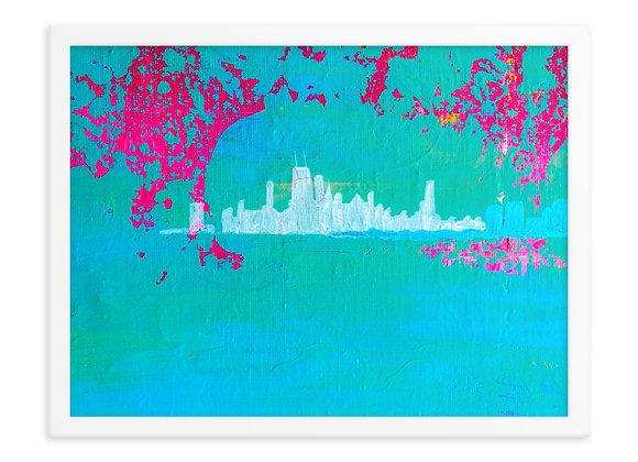 Chicago Skyline Framed Poster Print