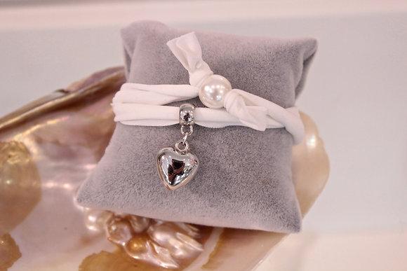 Bracciali lycra cuore-perla
