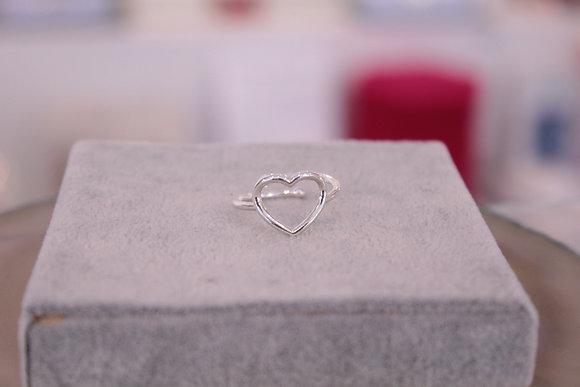 Anello argento bianco cuore