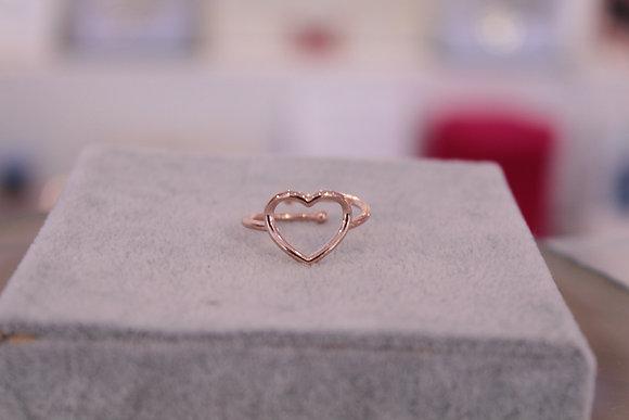 Anello cuore argento rosato