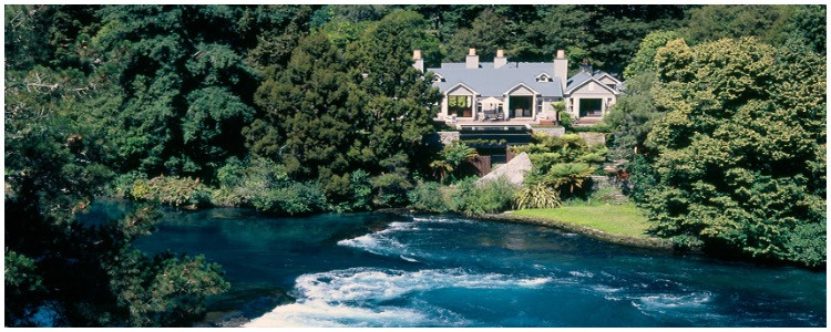Private New Zealand luxury hotel in the Southern Waikato region of North Island, Huka Lodge