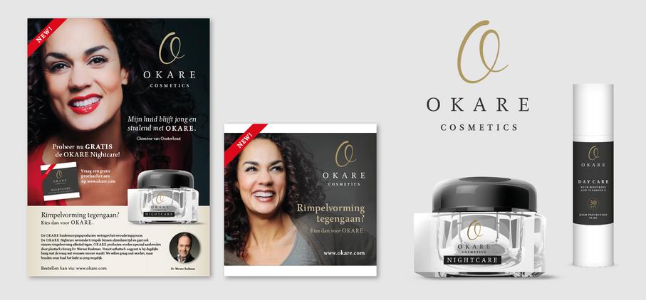 Okare Cosmetics - Ontwerp van promotiemiddelen en verpakkingen