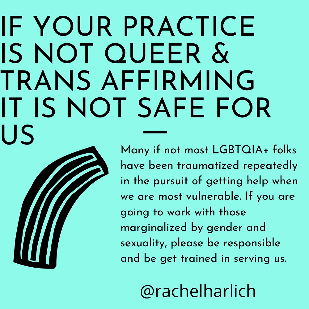 Queer and Trans Affirmative Therapy and Coaching. LGBTQ+ LGBTQIA+ LGBQ+ TGNC Affirmative Therapy.