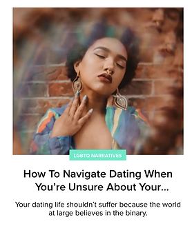 An article from Tinder Swipe Life about Questioning Sexuality Dating Relationships, and being LGBTQ+.