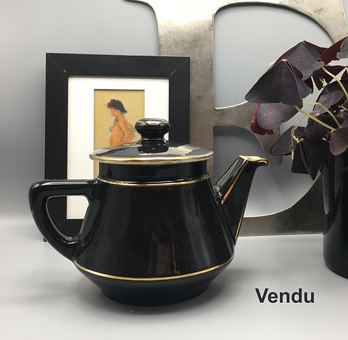 Théière noire avec bordures dorées, Villeroy&Boch