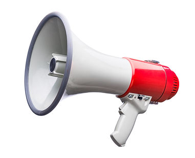 Red and white bullhorn public address me