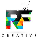RF R F Letter Logo with Colorful Triangl