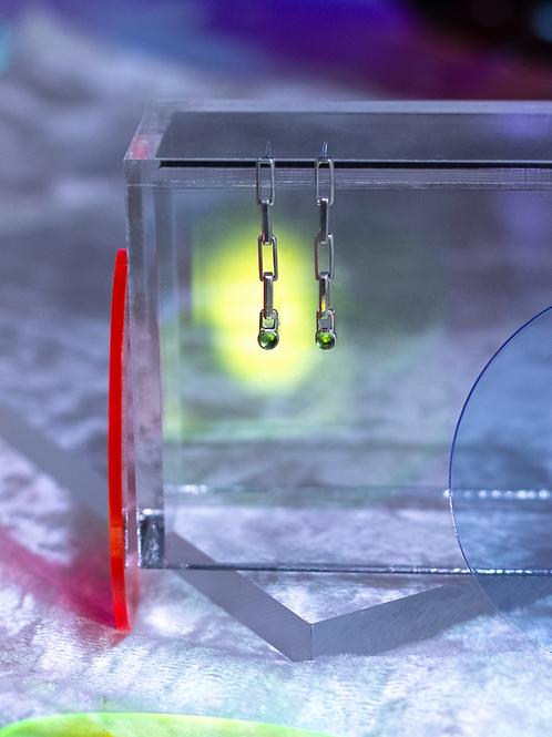 peridot chain drop earrings