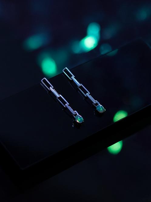 chain + opal drop earrings
