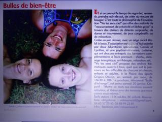 """Article des ateliers """"bulles&sens'ciel"""" dans le mensuel de Buchelay"""