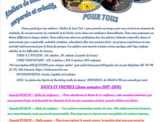 """Programme des ateliers """"Bulle&Sens'Ciel"""" de Février à Juin 2018"""