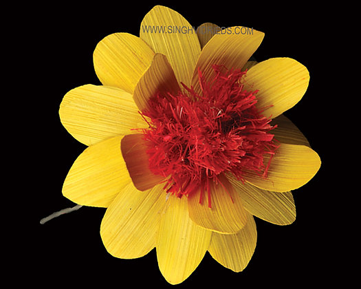 Deco Flower Yellow with Red Centre on Wire Stem