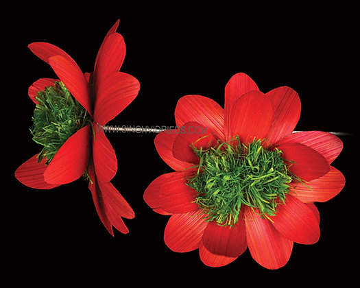Deco Flower Red with Green Centre on Wire Stem