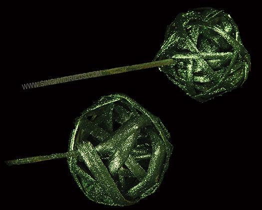 Kambu Ball Green with Glitter on Bamboo Stem