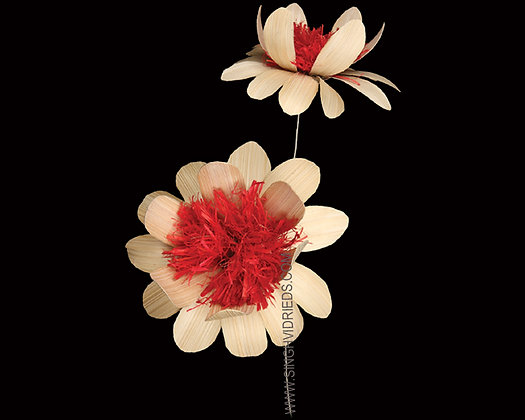 Deco Flower Red Centre on Wire Stem