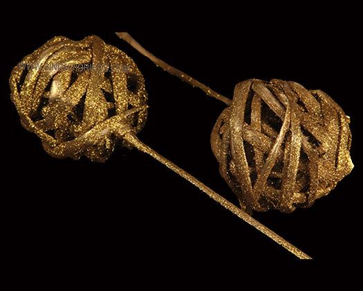 Kambu Ball Gold with Glitter on Bamboo Stem