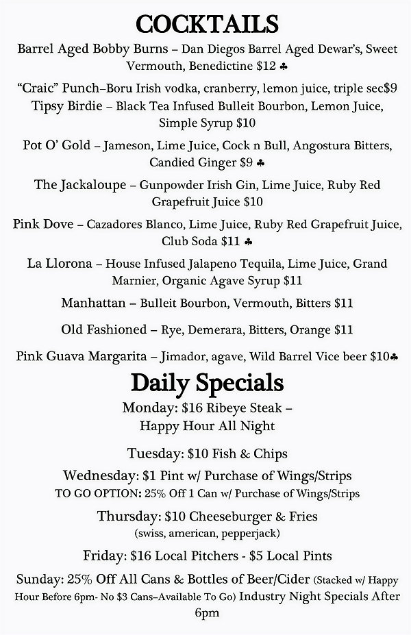 Cocktails and Daily Specials