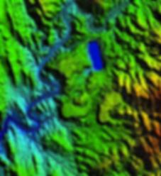 Modelo Digital de terreno de estudio de contaminacion por agua de mina.