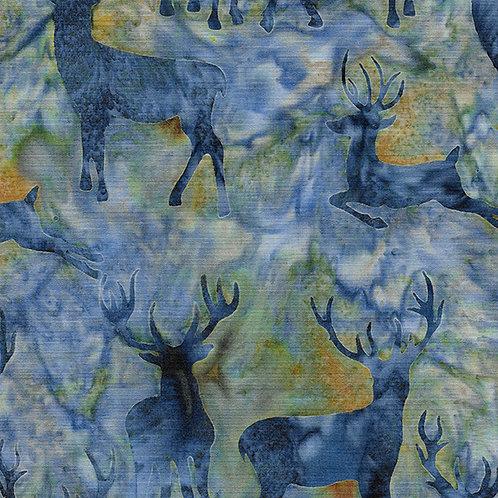 Batik - Deer Grouping - Med Lagoon