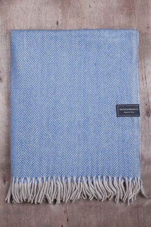 Sky blue Herringbone Tartan Blanket