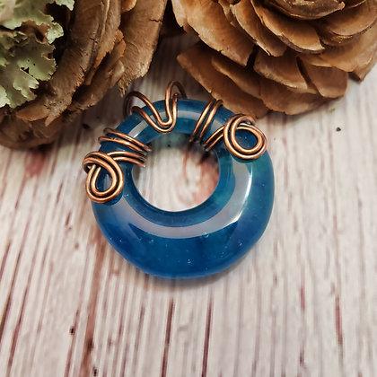 Lovely Blue Donut Fused Glass Pendant
