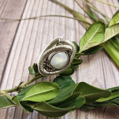 Radiant Rainbow Moonstone Ring Size 6
