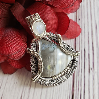Beautiful Banded Blue Opal and Moonstone Pendant