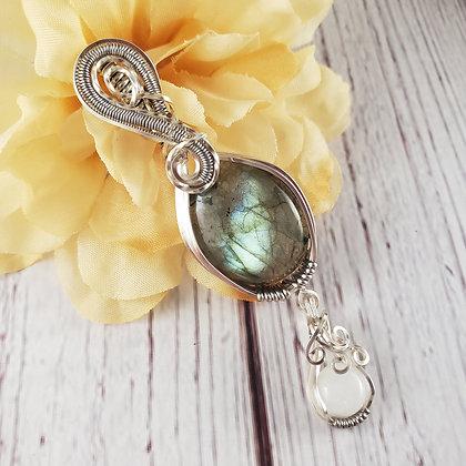 Perfect Labradorite and Moonstone Dangle Pendant