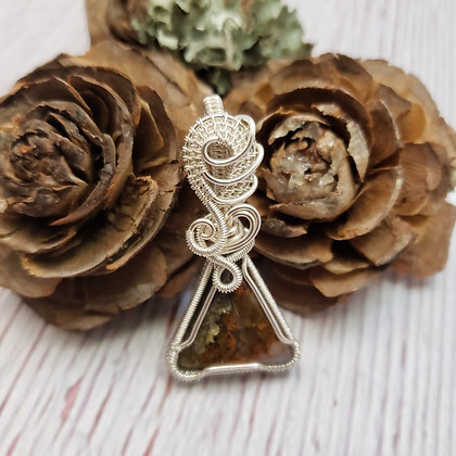 Magnificent Small Moss Agate Triangle Pendant