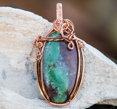 Gorgeous Premium Bio Chrysoprase Pendant in Copper