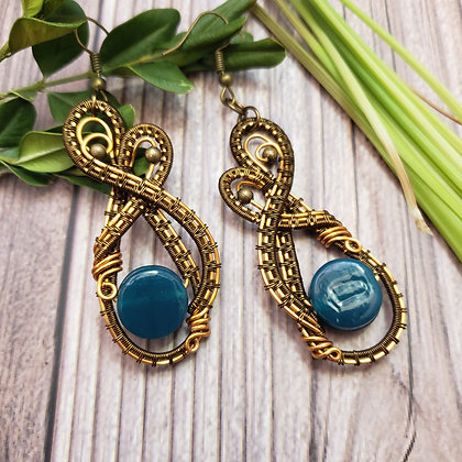 Beautiful Teal Coin Glass Earrings