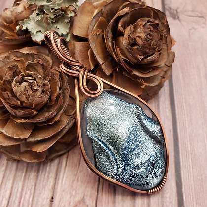 Unique Large Blue Silver Diamond Fused Glass Pendant