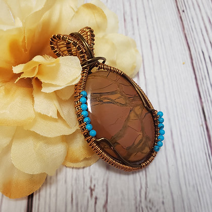 Outstanding Yellow Picasso Jasper and Turquoise Pendant