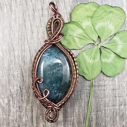 Stunning Green/Blue Moss Agate Oval Pendant