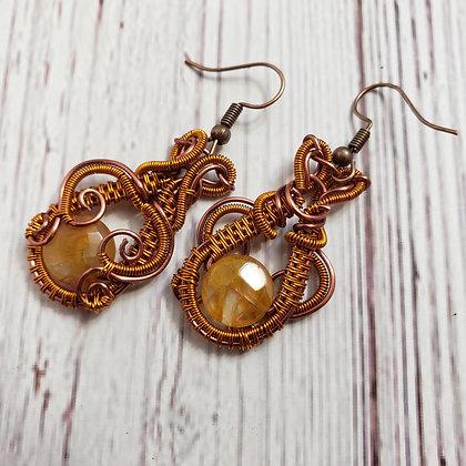 Faceted Citrin Coin Dangle Earrings