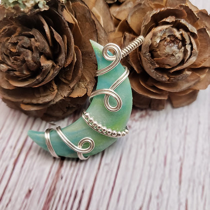 Brilliant Pale Green & Blue Glow-in-the-Dark Polymer Clay Crescent Moon Pendant