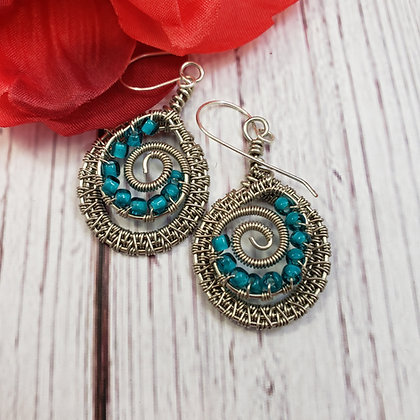Circle Earrings in Silver and Turquoise
