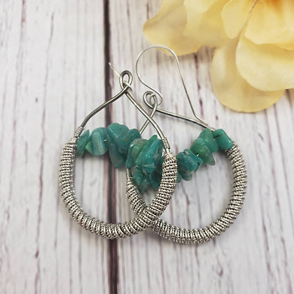 Elegant Amazonite Chip Hoop Earrings