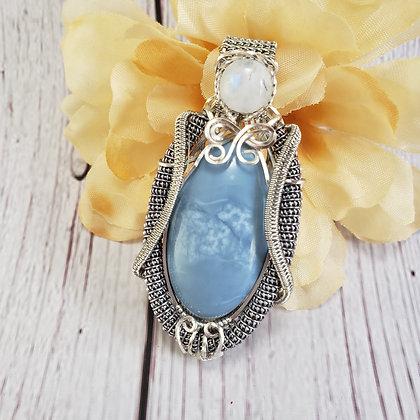 Breathtaking Blue Opal and Moonstone Pendant