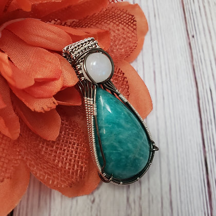 Amazing Amazonite and Rainbow Moonstone Pear Pendant