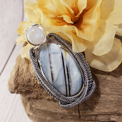 Magnificent Blue Banded Opal and Moonstone Pendant