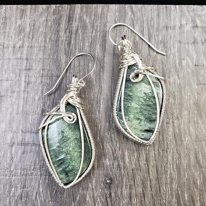 Magnificent Green Seraphinite Fancy Earrings