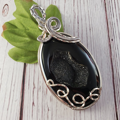 Dazzling Black Onyx Druzy in Silver and Titanium