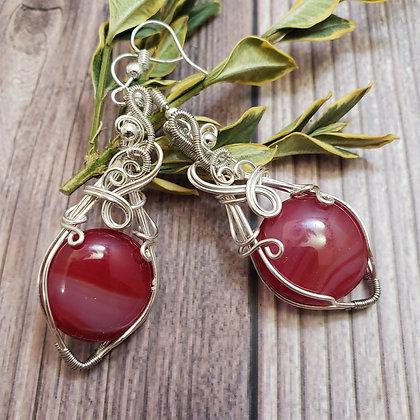 Radiant Red Glass Elegant Earrings