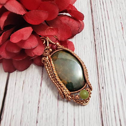 Unique Bloodstone Oval with Garnet and Jade Accents